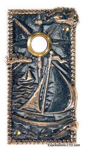 Sailboat Doorbell - Verdigris