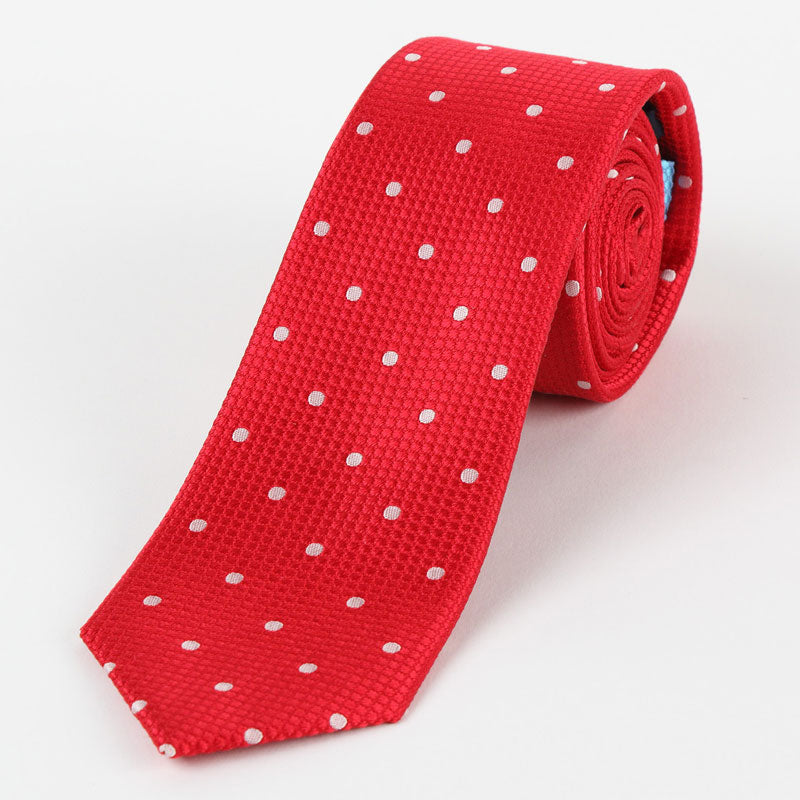 Moncleef Tie  M19546 Red/White Basket Weave Polka Dot