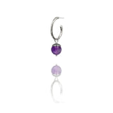 sterling silver textured twig hoop earrings with interchangeable purple amethyst charm drops