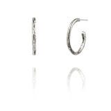 sterling silver textured twig hoop earrings with interchangeable charm drops