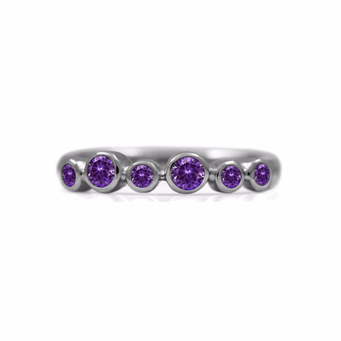 Halo half eternity ring - sterling silver and amethyst