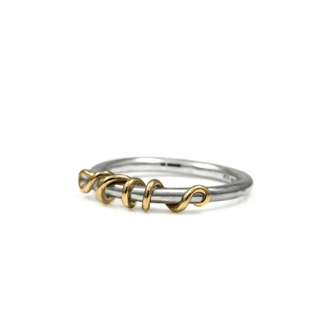 Tendril ring in sterling silver and 9ct gold
