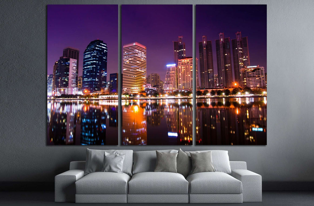 australian modern city at night (gold coast) queensland №2236 Ready to Hang Canvas Print