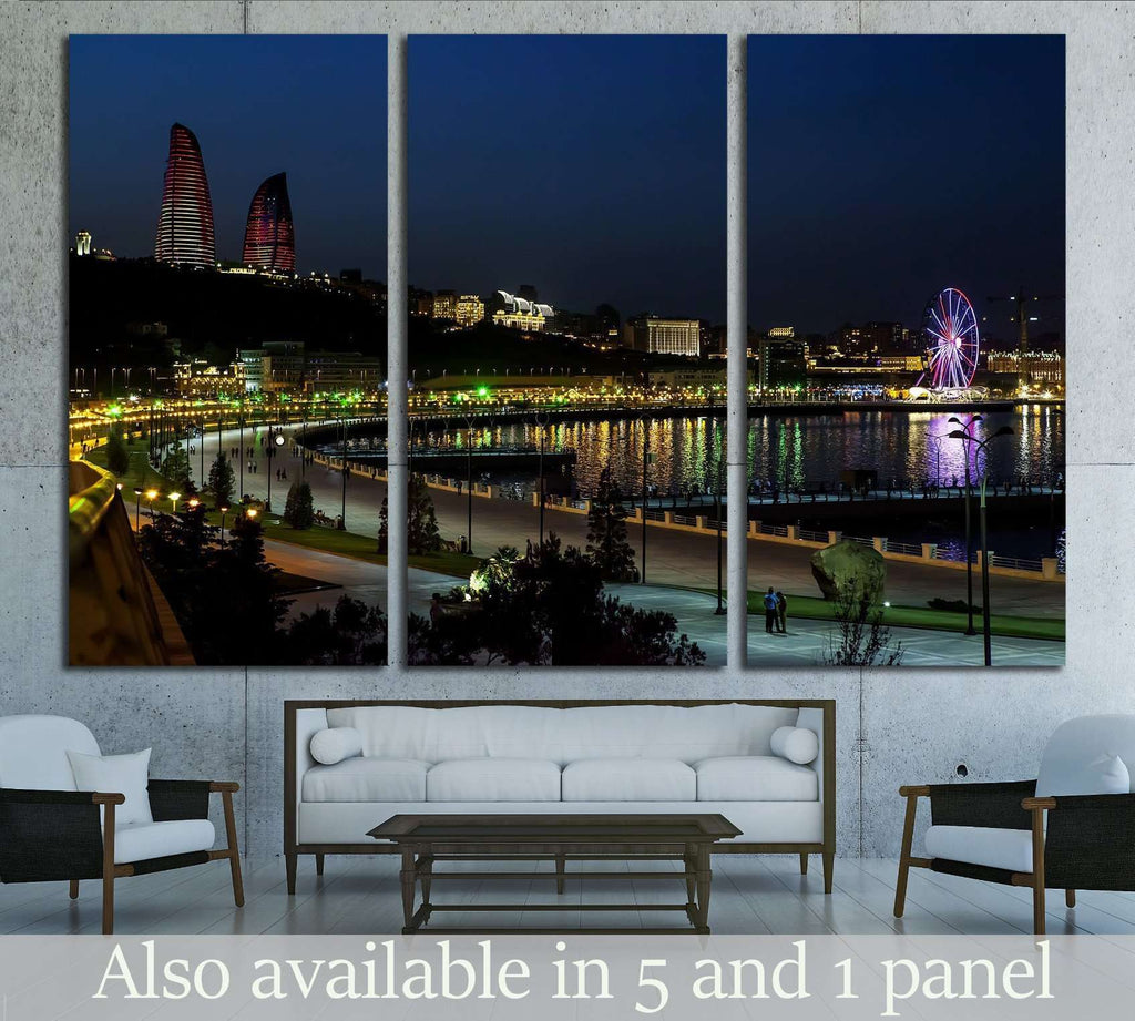Baku Night old city №1569 Ready to Hang Canvas Print
