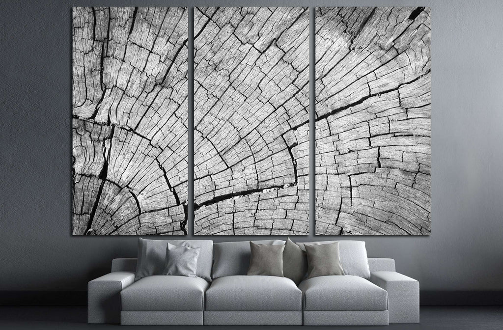 Old Gray cracked wood texture background №2836 Ready to Hang Canvas Print