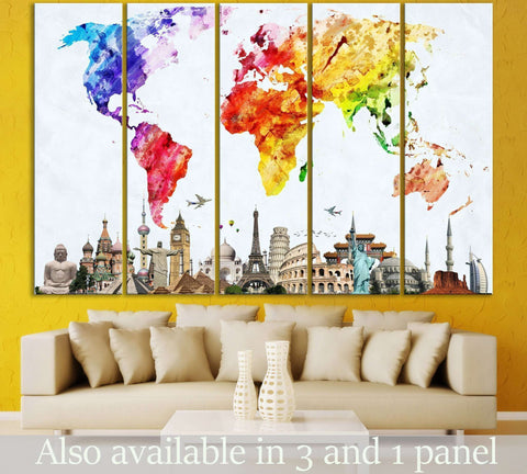 Watercolor World Map №103 Ready to Hang Canvas Print