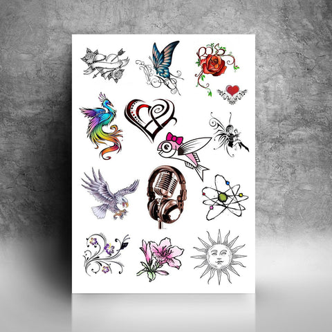 Personalised Temporary Tattoos A4 Sheet