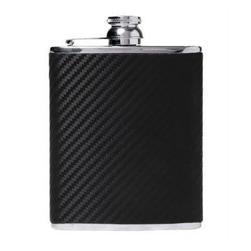 6oz Hip Flask Carbon Fibre Leather