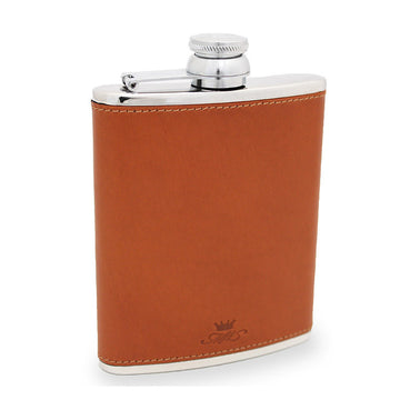 6oz Hip Flask Tan Leather