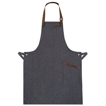 Black Denim And Leather Mens Apron