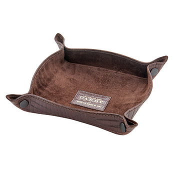 Brown Leather Crocodile Print Tidy Tray