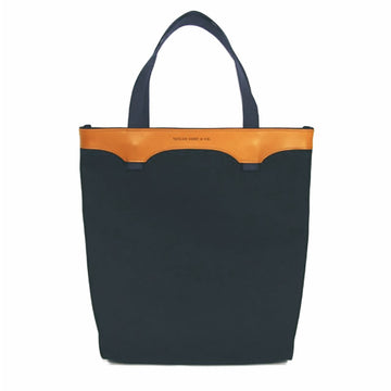 Leather and Navy Canvas Tote Bag