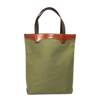 Leather and Green Canvas Tote Bag