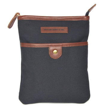 Leather and Navy Canvas Messenger Bag
