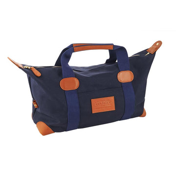Blue Canvas And Tan Leather Travel Bag