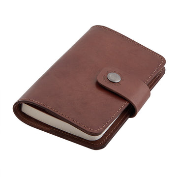 Leather bound refillable pocket notebook