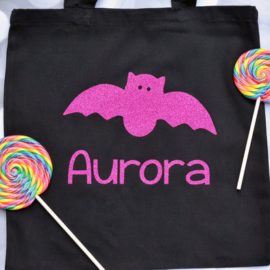 glittery bat personalized halloween fall trick or treat candy bag