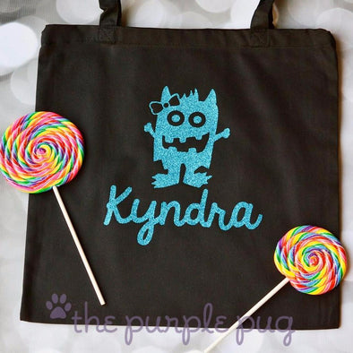 girly monster with hair bow personalized glitter halloween tote