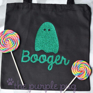 glittery ghost personalized halloween trick or treating bag