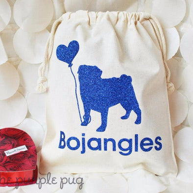 love pug with balloon personalized drawstring packaging bag