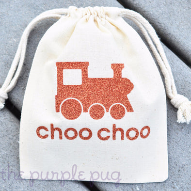 choo choo train glittery gift bag sparkle sacks personalized