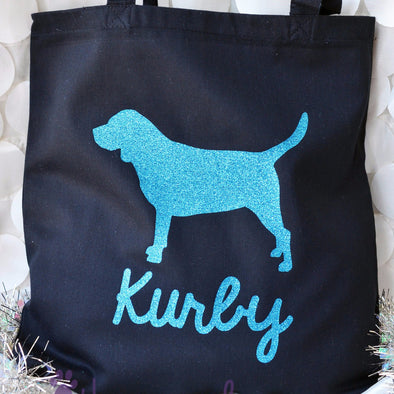 Custom Cotton Canvas Glitter Personalized BEAGLE Twinkle Tote Bags
