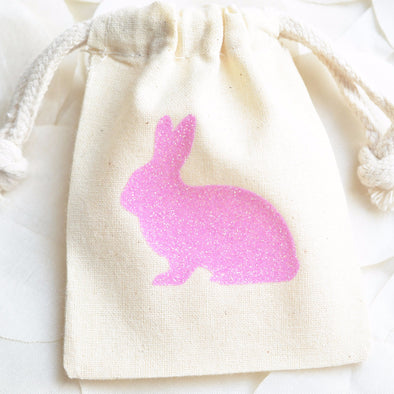 glitter bunny rabbit small party favor bag sets