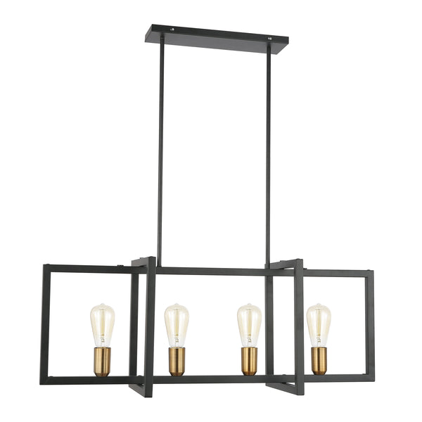Paradigm Black and Antique Brass Four-Light Kitchen Island/Chandelier