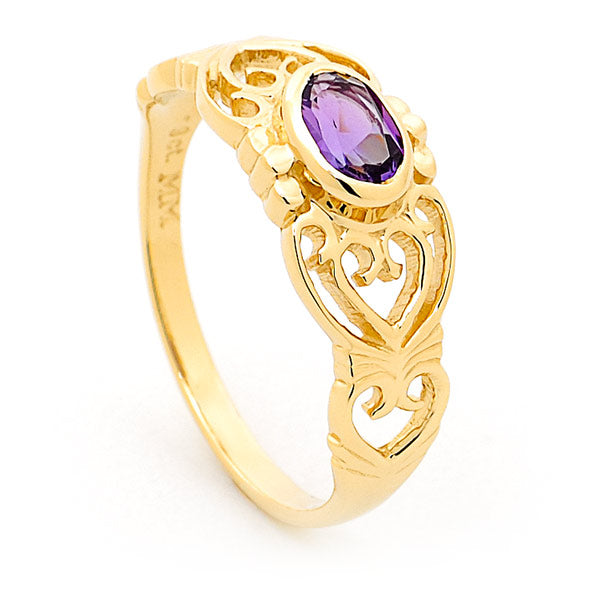 9ct yellow gold oval bezel set filigree pierced amethyst ring