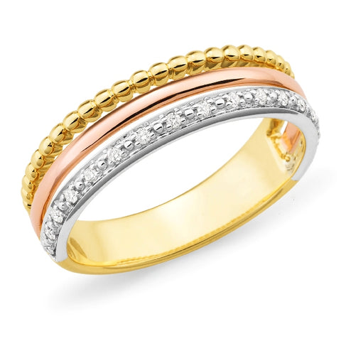 9ct 3 tone diamond set ring