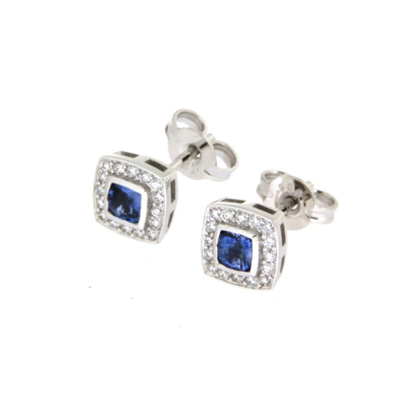 18ct White Gold Cushion Cut Ceylon Sapphire & Diamond Set Cluster Ear Studs