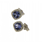 9ct white gold tanzanite & diamond cluster stud earrings
