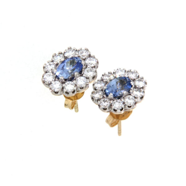 18ct Yellow and White Gold Ceylon Sapphire & Diamond Cluster Stud Earrings