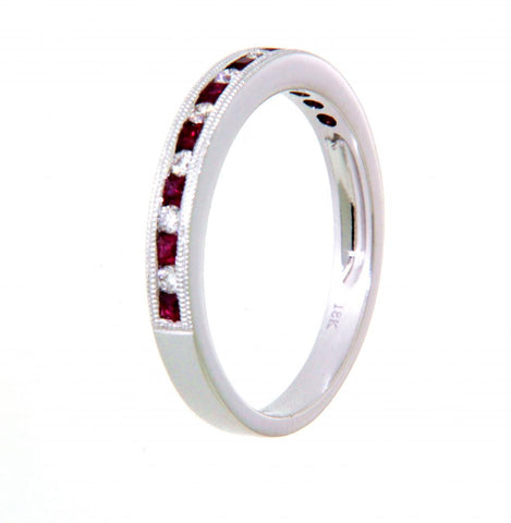 18ct white gold channel set ruby & diamond ring