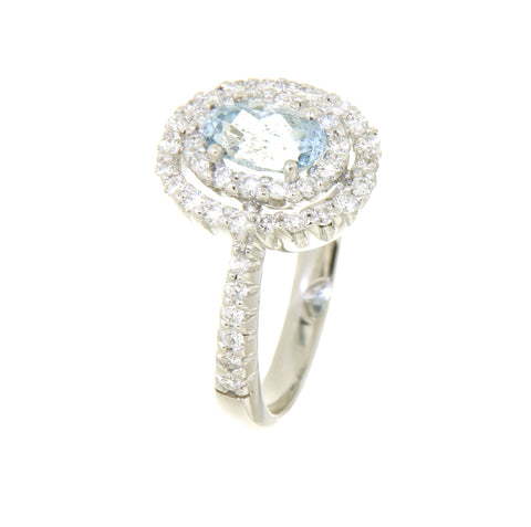 18ct white gold oval aquamarine & double halo diamond cluster ring
