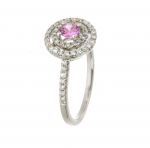9ct white gold pink sapphire & diamond cluster ring