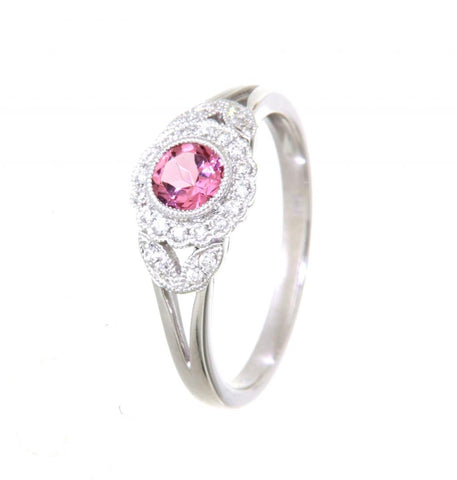 9ct white gold pink tourmaline diamond flower style ring