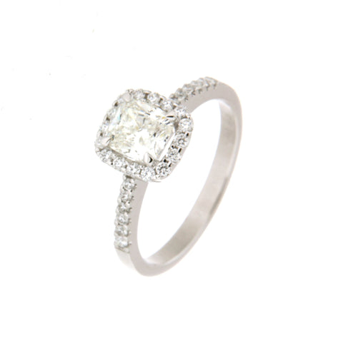 18ct White Gold Cushion Cut Diamond Cluster Ring
