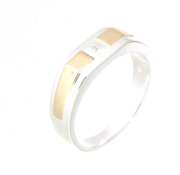 sterling silver & 9ct yellow gold diamond set gents ring