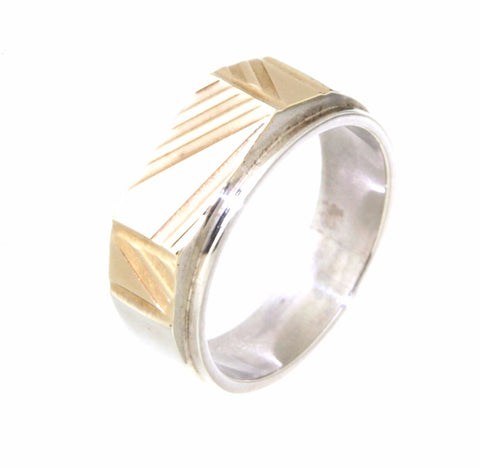 sterling silver & 9ct yellow gold gents ring w/ rectangle grooves