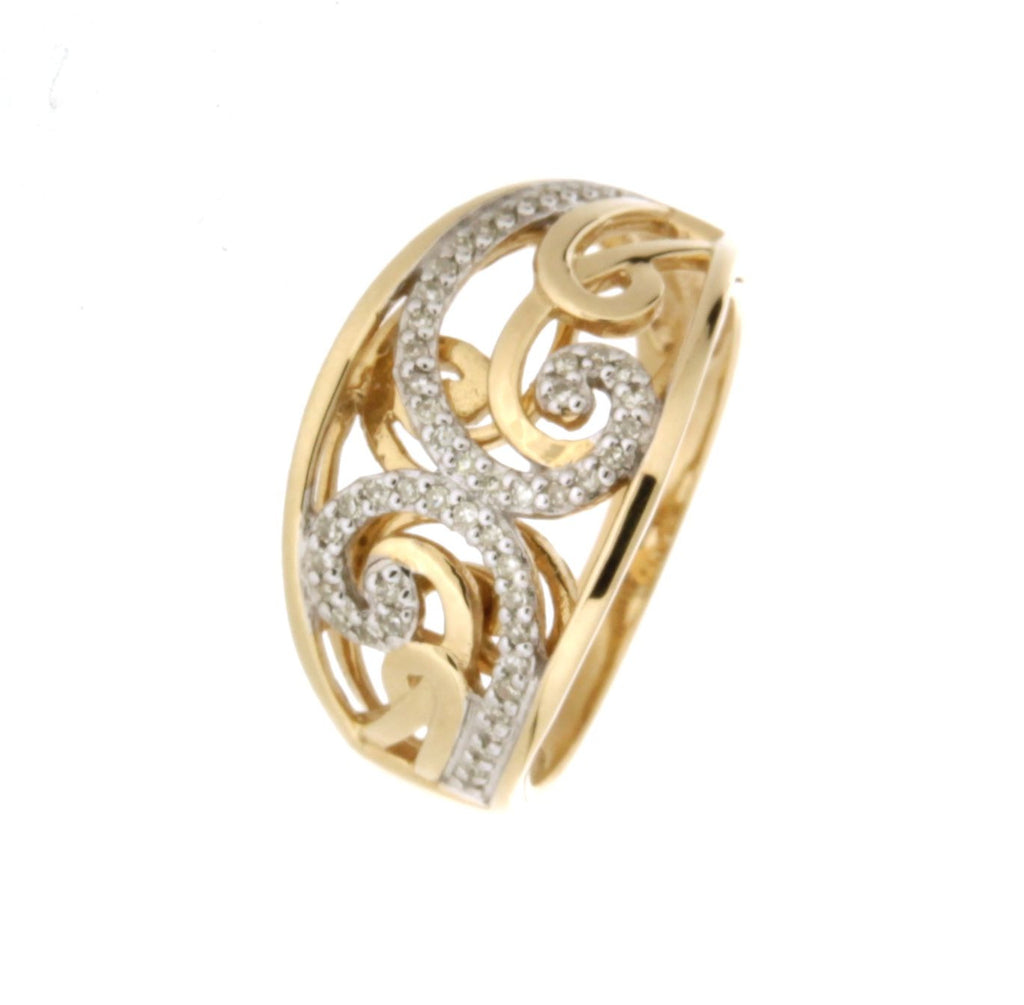 9ct yellow gold wide floral diamond ring