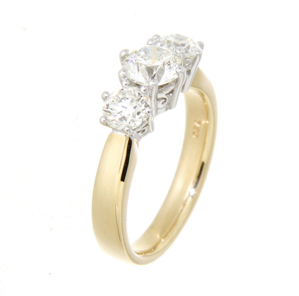 18ct yellow & white gold 3 claw set traditional diamond ring