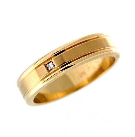 9ct diamond set gents ring satin centre and polish edge