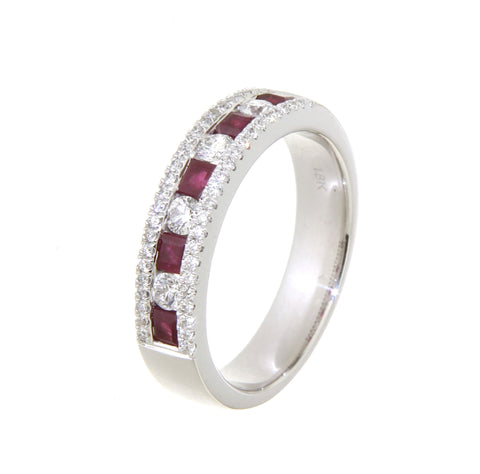 18ct white gold alternating ruby & diamond channel & grain set ring
