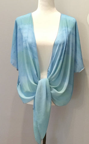 'Blue Water Colours' Draped Kimono Cardigan - Tru-Artwear.ca