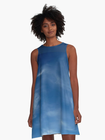 'Blue Sky' A-Line Summer Dress - Tru-Artwear.ca