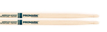 "This is a picture of a ProMark TXR7A Hickory 7A ""The Natural"" Wood Tip Drum Sticks"