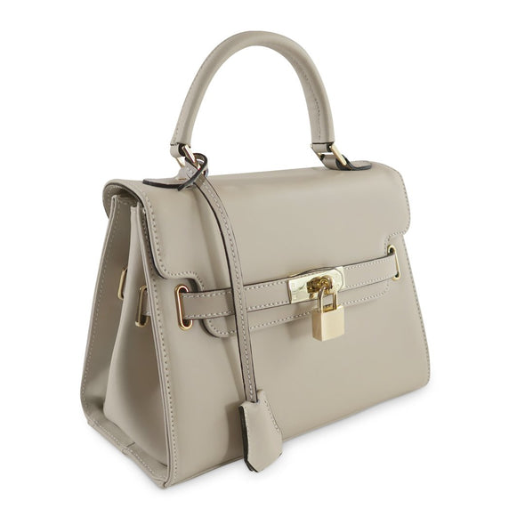 Susan Grace Small Italian Leather Bag in Taupe - at LUCA Boutique