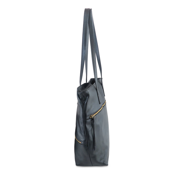 Zilla Italian Leather Tote in Black - exclusively at LUCA Boutique - side view