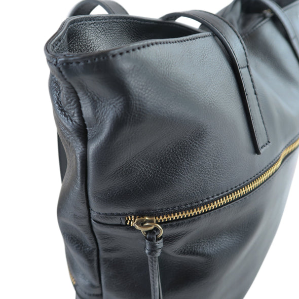 Zilla Italian Leather Tote in Black - exclusively at LUCA Boutique - close up